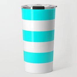 Horizontal Stripes - White and Aqua Cyan Travel Mug