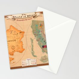 World of Wine Map Stationery Cards