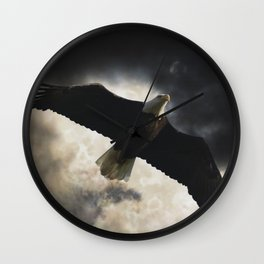 Soaring Eagle in Stormy Skies Wall Clock