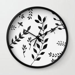 Black & White Leaves Pattern #4 #drawing #decor #art #society6 Wall Clock