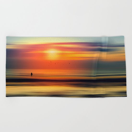 Bright Red - seascape sunset abstract Beach Towel
