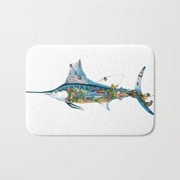 Colored Fisherman Marlin Bath Mat