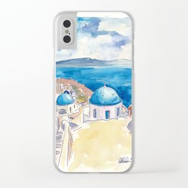 Santorini Oia View Mediterranean Dream Clear iPhone Case