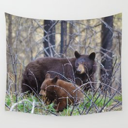 Sow & cub in Jasper National Park | Canada Wall Tapestry