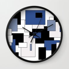 Squares -  gray, blue, black and white. Wall Clock