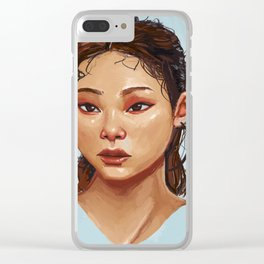 Red Eyes Portrait Clear iPhone Case