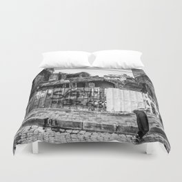 Istanbul : A Fusion of Black and White Duvet Cover