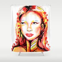 pain Shower Curtains featuring Coloring pain by Maria Lopes