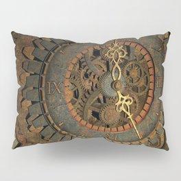 Steampunk, awesome clock, rusty metal Pillow Sham