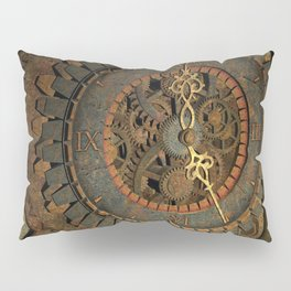 Steampunk, awesome clock, rusty metal Pillow Sham