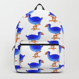 Prancing Pukeka. Native New Zealand Birds - swamphen - cute birds - blue birds Backpack