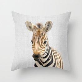 Baby Zebra - Colorful Throw Pillow
