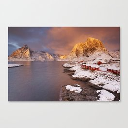 Spectacular light over Reine village on the Lofoten, Norway Canvas Print