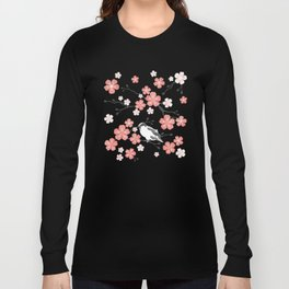 Navy blue cherry blossom finch Long Sleeve T-shirt