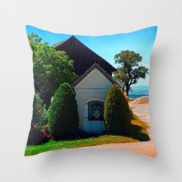 Traditional wayside chapel ensemble Throw Pillow