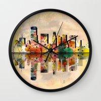 miami Wall Clocks featuring miami  by mark ashkenazi