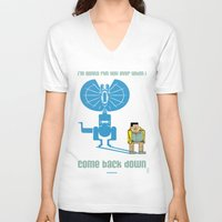 jurassic park V-neck T-shirts featuring JURASSIC PARK : Nerdy Nedry by SimonCARUSO.com