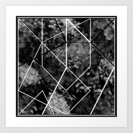 Black and white frosty lines Art Print