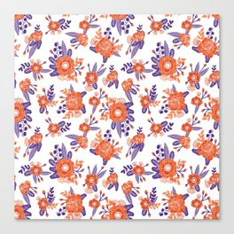 University football fan alumni clemson orange and purple floral flowers gifts Canvas Print