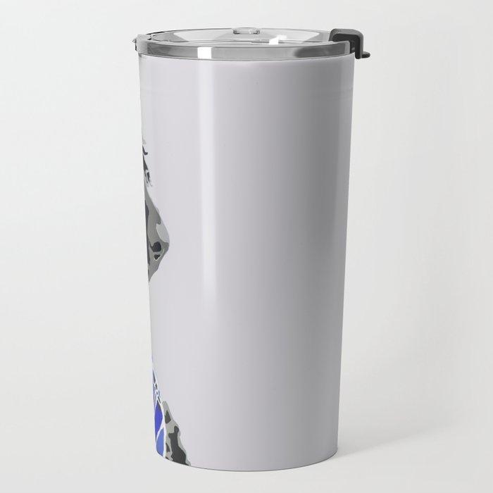 Black Standard Poodle in Blue Travel Mug