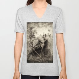 Beautiful thistle growing wild and sepia texture Unisex V-Neck