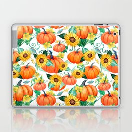 Pumpkins and Sunflowers with moths, watercolor botanical Laptop & iPad Skin