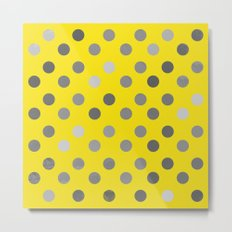 Polka Proton Yellow Metal Print