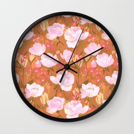 Pink roses on umber Wall Clock