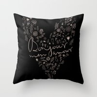 bonjour Throw Pillows featuring Bonjour by oh, sensation!