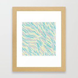 Pastel green teal yellow pink hand painted waves pattern Framed Art Print