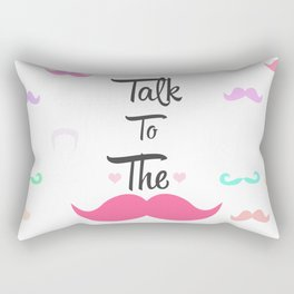 Funny Girly Talk To The Mustache Bright Pink Heart Rectangular Pillow