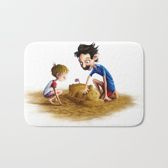 Father and Son at the Beach Bath Mat