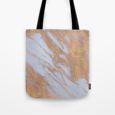 Marble -Rose Gold Marble with Yellow Gold Glitter Tote Bag