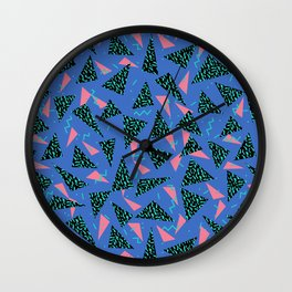 Tina - 80s Triangle print, bright tri blue memphis design, memphis triangle Wall Clock