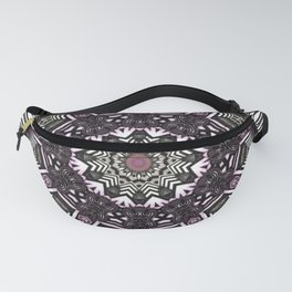 Mandala in black and white with hint of purple and green Fanny Pack