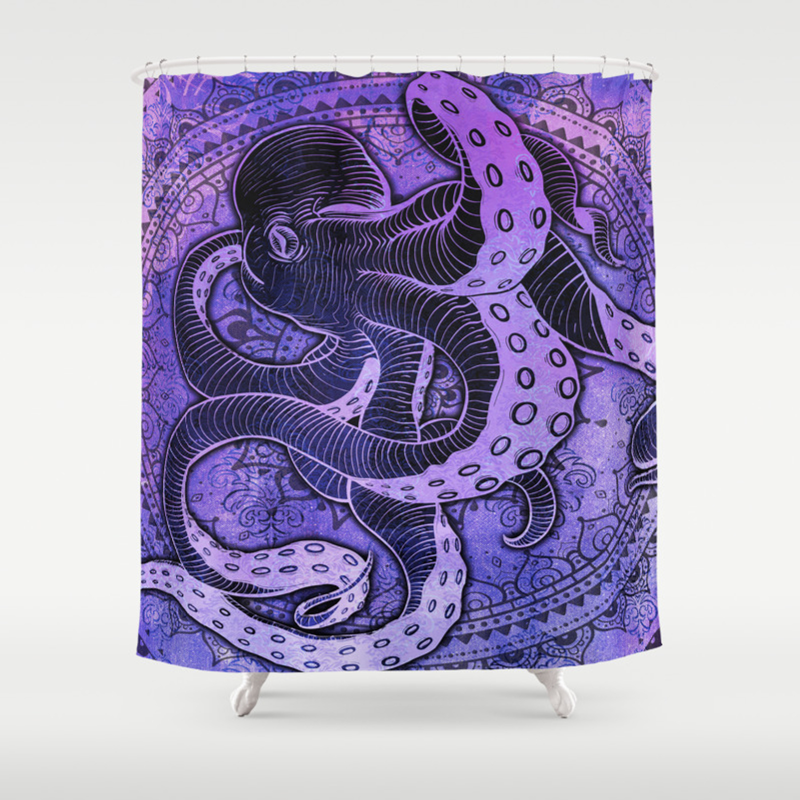 Octopus On Purple Damask Mandala Shower Curtain By Baddoggie Society6