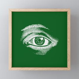 Kind Green Vintage Eye Pattern Framed Mini Art Print