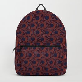Hexagonal Abstract Pattern (Orange Red // Russian Violet) Backpack
