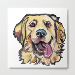 Fun GOLDEN RETRIEVER Dog bright colorful Pop Art Metal Print