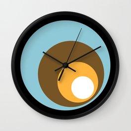Retro Circles Black Blue Brown Orange White Wall Clock