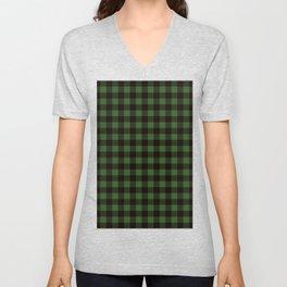 Green Plaid Unisex V-Neck
