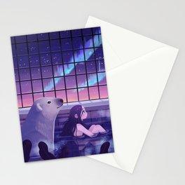 Bathing under Northern Lights Stationery Cards