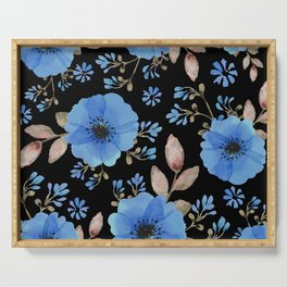 Blue flowers with black Serving Tray