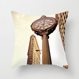 Flatiron Building and Fifth Avenue Clock - New York City Throw Pillow