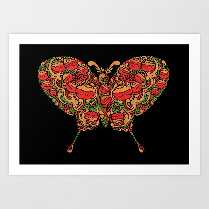 The Butterfly in Khokhloma Art Print
