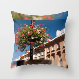 Pink and red Ivy leaved geranium Throw Pillow