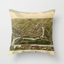 Aerial View of Seymour, Connecticut (1879) Throw Pillow