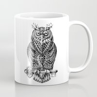bioworkz Mugs featuring Great Horned Owl by BIOWORKZ