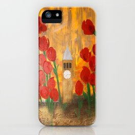 150 Years of CU - An Alumni Anniversary Tribute with Red Tulip Flowers iPhone Case