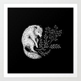 Botanical Wolf Art Print